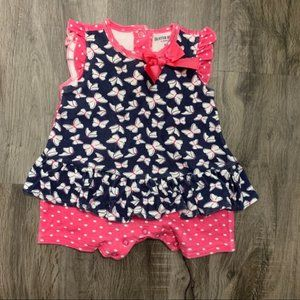 Buster Brown Navy Pink Ruffled Romper 6-9 Months
